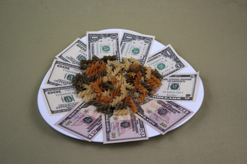 Money and the food on the plate, image 10
