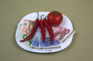 Money and the food on the plate, image 11