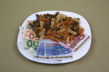 Money and the food on the plate, image 12