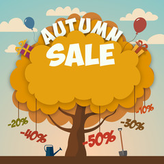 Sale advertising poster with autumn tree