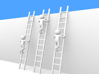 3d people - man climbing ladders