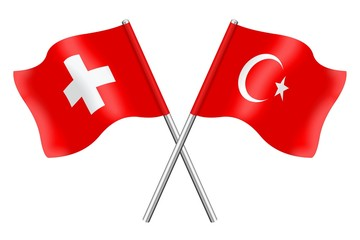 Flags: Switzerland and Turkey