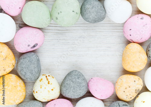candies on wooden table