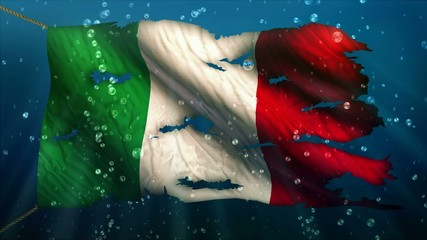 Italy Under Water Sea Torn Flag Loop Animation
