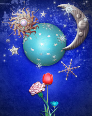 Blue starry night with moon and flowers