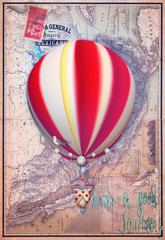 Old map with red montgolfier