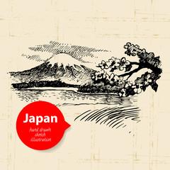 Hand drawn Japanese illustration. Sketch background