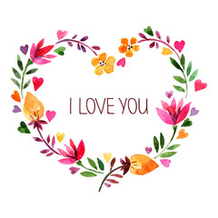 Love card with watercolor floral bouquet. Valentine€™s Day vect