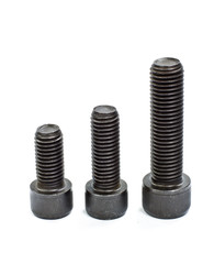 Hexagonal screws isolated on a white background in the industry