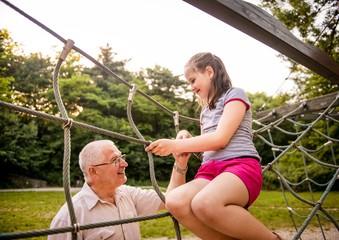 Happy grandfather with grandchild