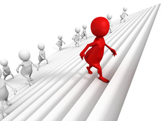 3d people awalking up on success ladder steps with red leader