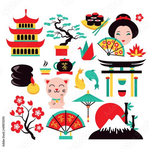 Japan symbols set - 69870393