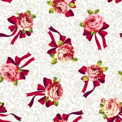 バラとリボンのパターン