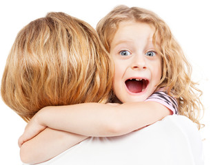 Child embracing mother