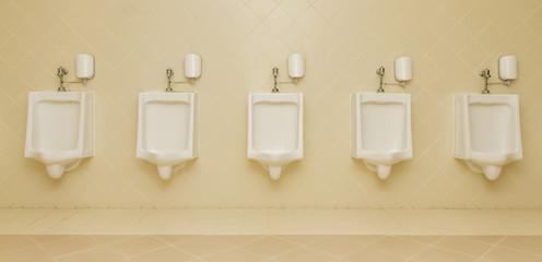 urinal man five clean toilets in public toilets.
