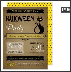 Cardboard Halloween Invitation Vertical