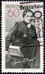 stamp printed in Germany, shows the poet Agnes Miegel