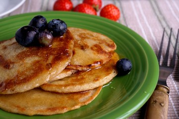 Breakfast plate with pancakes