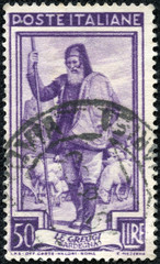 stamp printed in Italy shows Shepherd and Flock, Sardegna