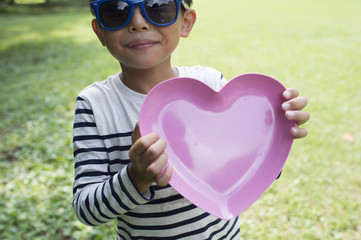 Boy with Heart Shaped plate