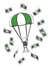 little sketchy man with parachute and money flying around