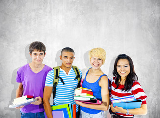 Group of Diverse Multiethnic Cheerful Students
