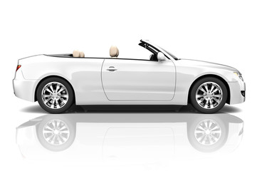3D of White Sports Car Isolated on Background