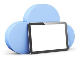 Cloud Shape Speech Bubble with Tablet