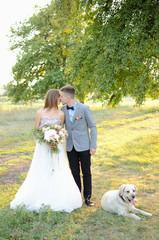 newlyweds and dog