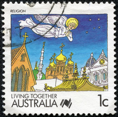 stamp printed in the Australia shows Religion
