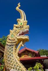 Beautiful golden dragon in Buddha Temple in Chiang mai