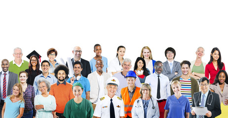Group of Diverse People with Different Jobs