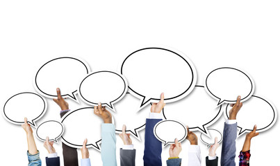 Group of Business Hands Holding Speech Bubble