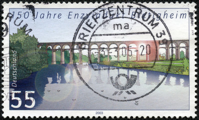 stamp printed by Germany, shows Bietigheim Enzviadukt