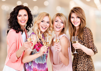 Group young beautiful women have party.