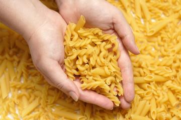 Pasta in hands