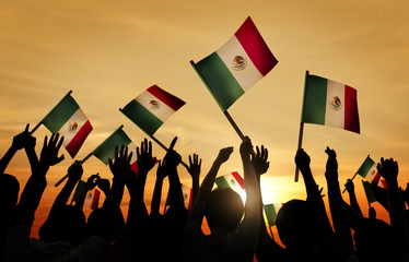 Silhouettes of People Holding Flag of Mexico