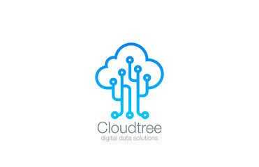 Tree Cloud Logo vector design. Data Storage Logotype