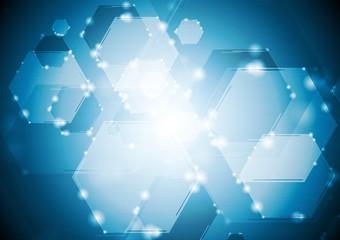 Shiny sparkling tech hexagons background