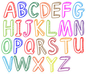 Colorful font styles of the alphabet