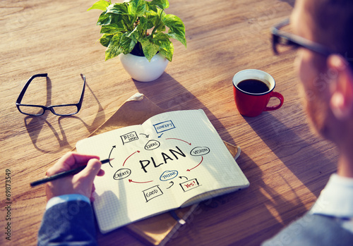 Businessman Brainstorming About Planning - 69873549