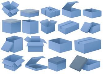 Set of blue boxes