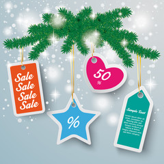 Colored Price Stickers Snow Lights Fir Branch