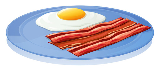A plate with an egg and a bacon