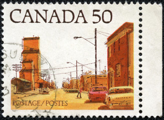 stamp printed in the Canada shows Main Street, Prairie Town