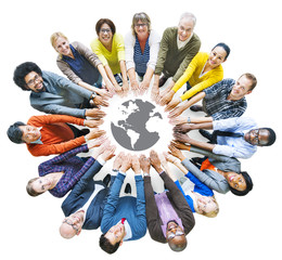 Diverse People with Togetherness Concepts and Earth Symbol