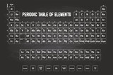 Periodic Table Of Elements With Chalk Font On Black Chalkboard poster