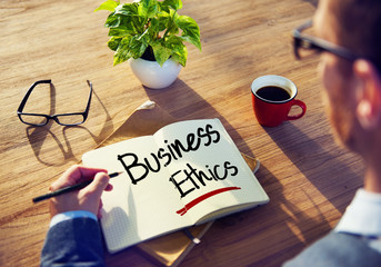 Man with a Note and Business Ethics Concept