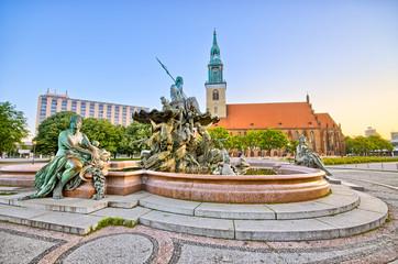 Famous fountain on Alexanderplatz in Berlin, Germany