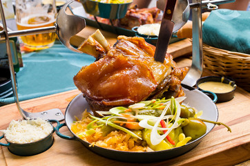 Pork knuckle with mustard and horseradish